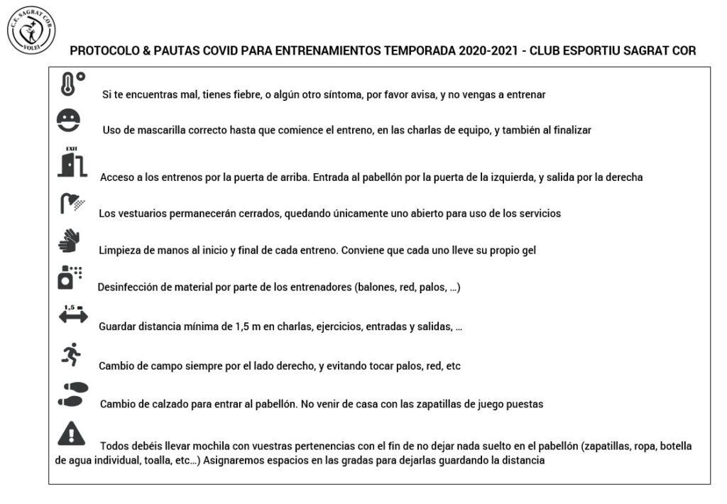 Protocolo y pautas COVID Club Esportiu Sagrat Cor